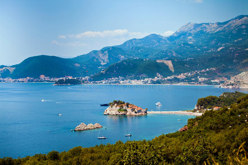 Sveti Stefan island in Montenegro stock photo
