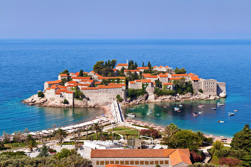 Sveti Stefan island in Montenegro stock photography