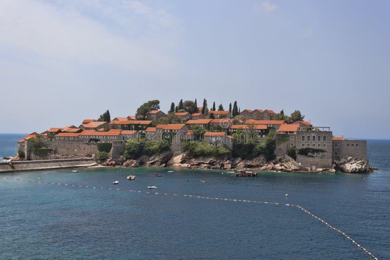 Sveti Stefan Island op Budva Riviera stock afbeelding