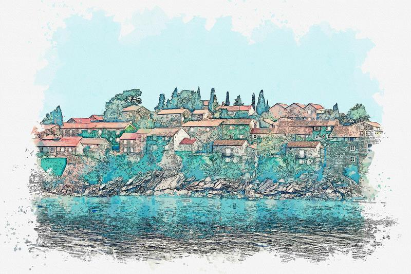 Sveti Stefan in Montenegro. Watercolor sketch or illustration of a view of architecture or buildings on the island of Sveti Stefan in Montenegro royalty free illustration