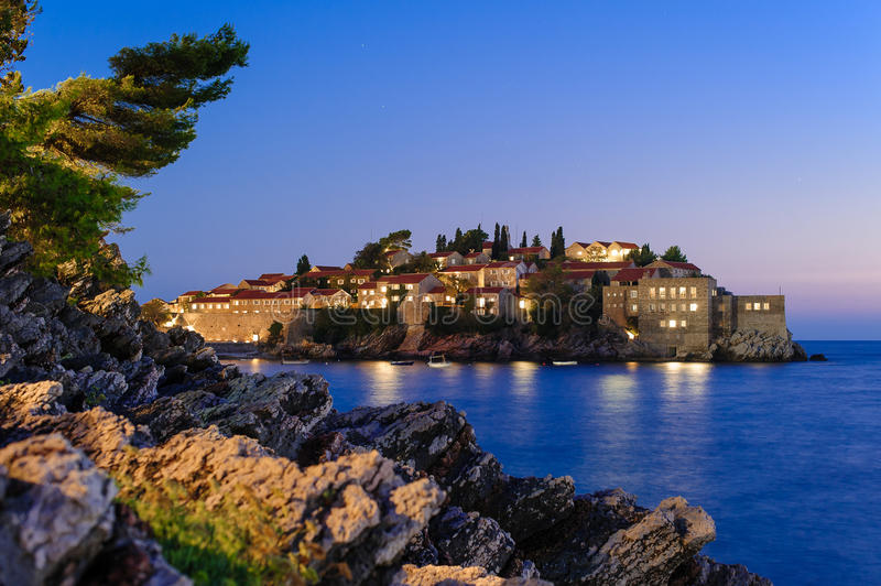 Sveti Stefan night view. Islet of Sveti Stefan and hotel resort near Budva, Montenegro now connected to the mainland by a narrow isthmus royalty free stock photography