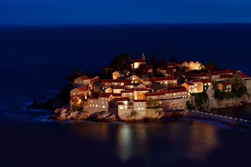 Sveti Stefan resort. Island in Montenegro at night royalty free stock photo