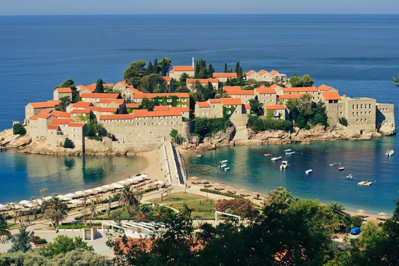 Sveti Stefan resort island-hotel in Montenegro royalty free stock image