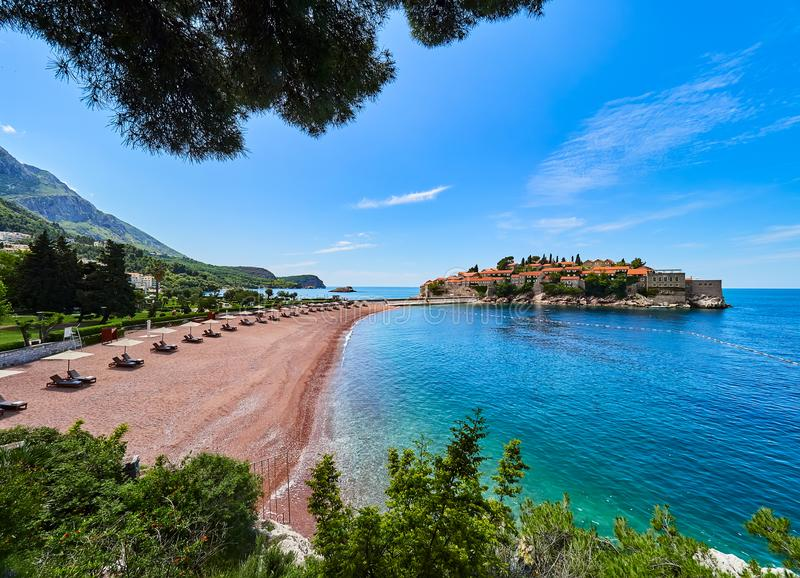 Sveti Stefan is a small islet and hotel resort in Montenegro, Europe stock photography