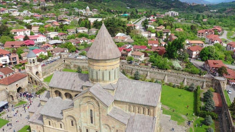 Svetitskhoveli大教堂鸟瞰图 库存照片