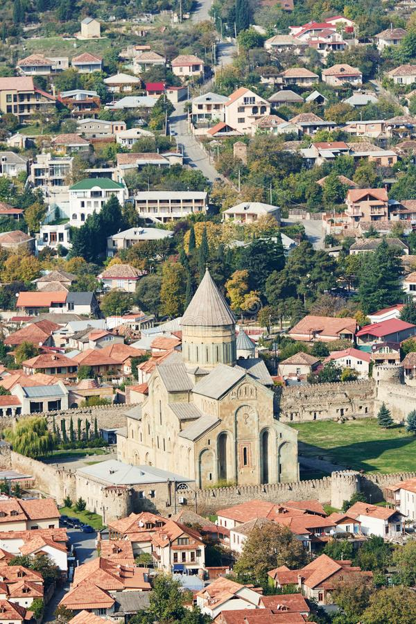 Svetitskhoveli kristen ortodox domkyrkakyrka i Mtskheta, Georgia royaltyfri fotografi