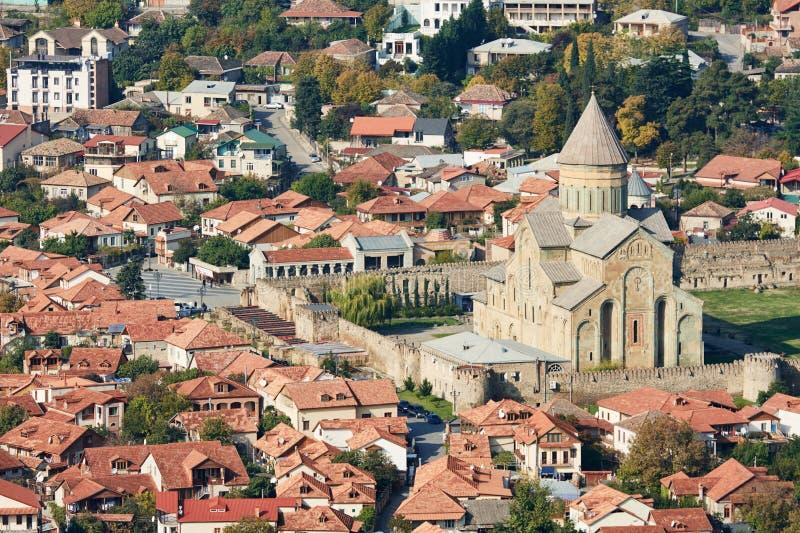 Svetitskhoveli kristen ortodox domkyrkakyrka i Mtskheta, Georgia royaltyfria foton