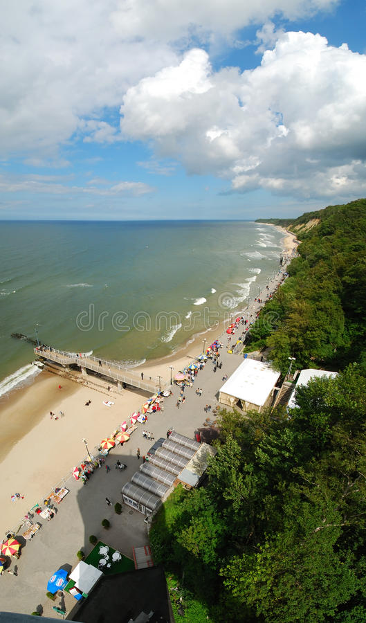 Svetlogorsk beach panoram royalty free stock image