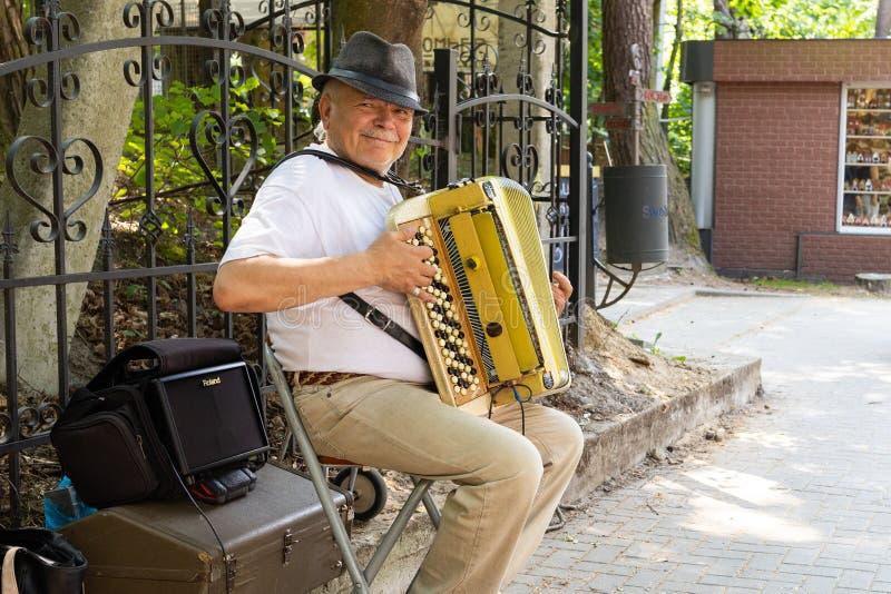 Svetlogorsk, Rússia - junho 8,2019: Músico do ancião que joga o acordeão para turistas no dia de verão imagens de stock royalty free