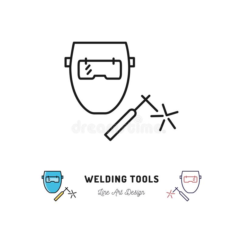 Svetsande hjälpmedelsymbol, svetsningmaskin och weldermaskering Tunn linje konstsymbol för vektor vektor illustrationer