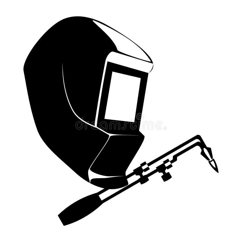 Svetsande svartvitt enkelt tecken isolerad vektorillustration royaltyfri illustrationer
