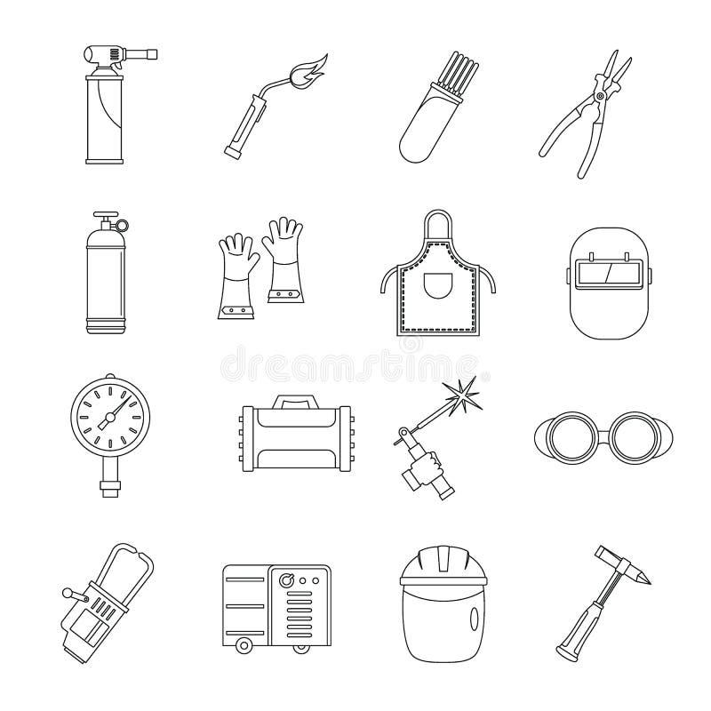 Svetsningsymbolsuppsättning, översiktsstil royaltyfri illustrationer