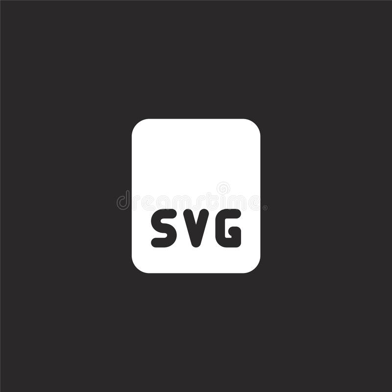 Svg file icon. Filled svg file icon for website design and mobile, app development. svg file icon from filled image files. Collection isolated on black vector illustration