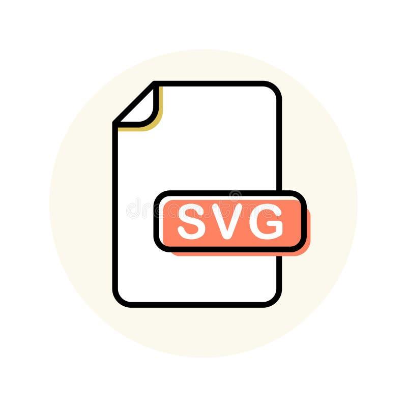 SVG kartoteki format, rozszerzenie koloru linii ikona ilustracja wektor