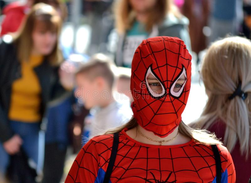 Svilajnac, Serbia - March 10, 2019 : Girl disguise as spider-man stock photography