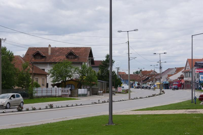 Svilajnac, Serbia - May,22.2019:Street with green areas. Svilajnac  is a town and municipality located in the Pomoravlje District of central Serbia stock photos