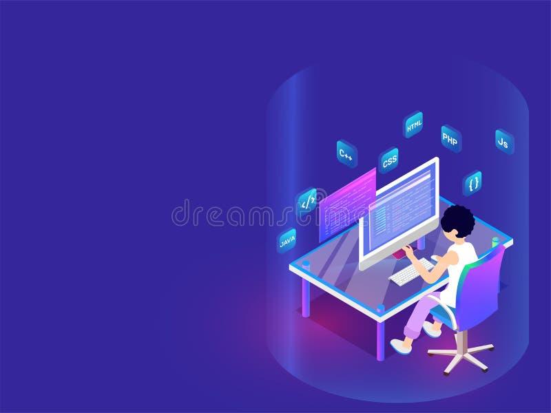 Sviluppatore che lavora ai sig da tavolino e differenti di lingue di programmazione royalty illustrazione gratis