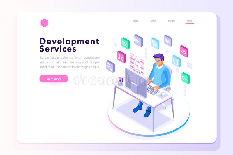 Sviluppatore di programma per l'insegna del sito Web illustrazione di stock