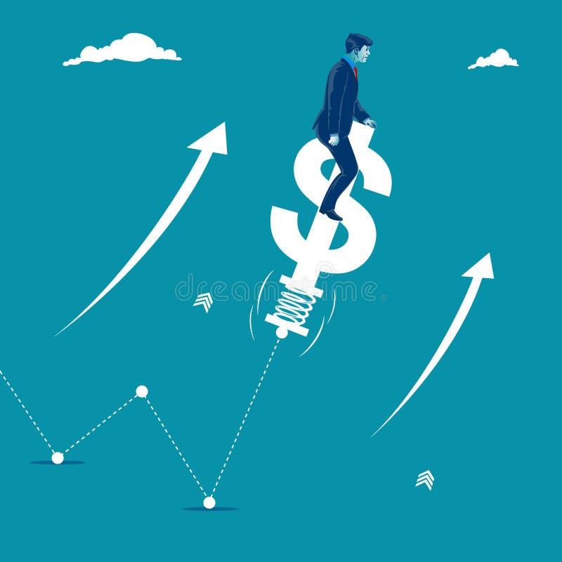 sviluppisi Grafico d'aiuto dell'uomo d'affari da svilupparsi saltando su un simbolo di dollaro Metafora, illustrazione di vettore illustrazione di stock