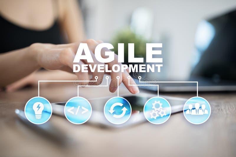 Sviluppo agile, software e concetto di programmazione di applicazione sullo schermo virtuale immagine stock