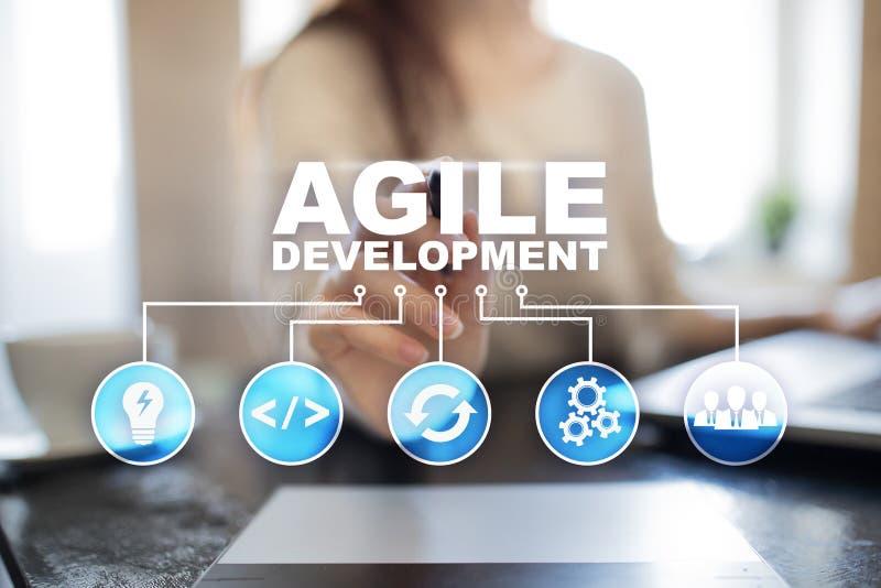 Sviluppo agile, software e concetto di programmazione di applicazione sullo schermo virtuale fotografie stock libere da diritti