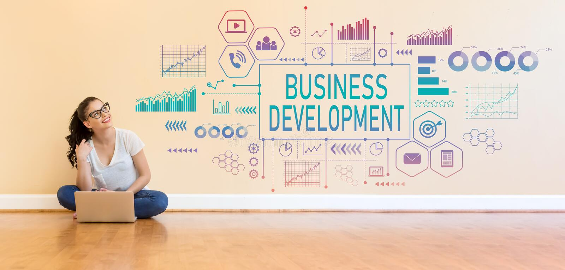 Sviluppo di affari con la giovane donna che per mezzo di un computer portatile immagine stock