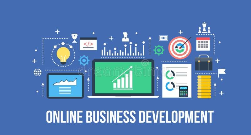 Sviluppo di affari - concetto digitale di affari illustrazione vettoriale