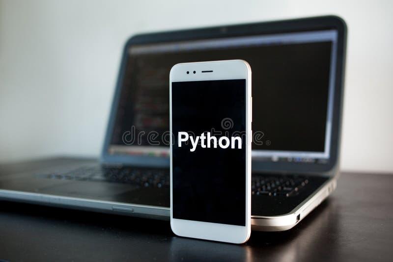 Sviluppo di applicazioni mobile, linguaggio di programmazione del pitone per sviluppo mobile fotografie stock libere da diritti