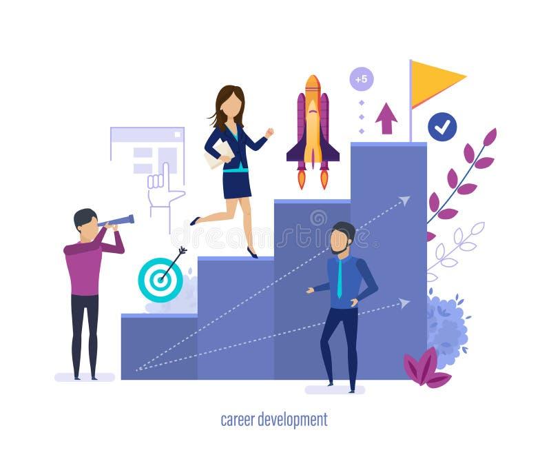 Sviluppo di carriera Sviluppo delle abilità, guadagnante i profitti, crescita di carriera illustrazione vettoriale