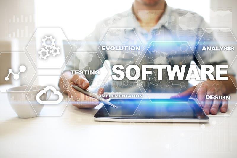 Sviluppo di software Concetto di tecnologia di sistema di programmi di Digital di dati fotografia stock libera da diritti
