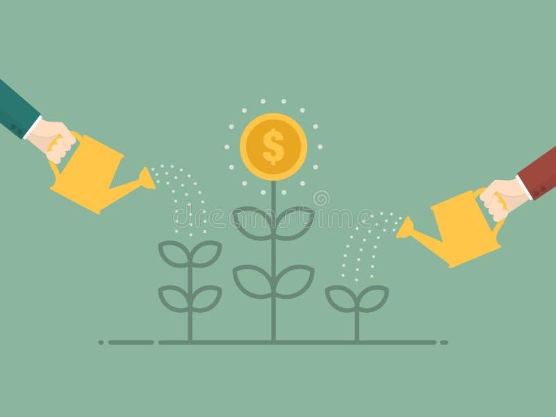 Sviluppo di soldi cento fatture del dollaro che crescono nell'erba verde royalty illustrazione gratis