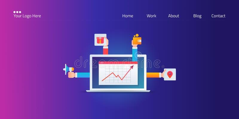 Sviluppo di strategia aziendale per la miscela di vendita, posto, prodotto, prezzo, promozione, grafico commercializzante digital royalty illustrazione gratis