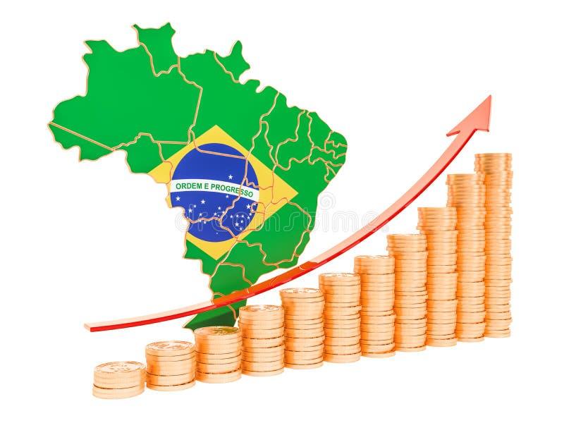 Sviluppo economico nel concetto del Brasile, rappresentazione 3D illustrazione vettoriale