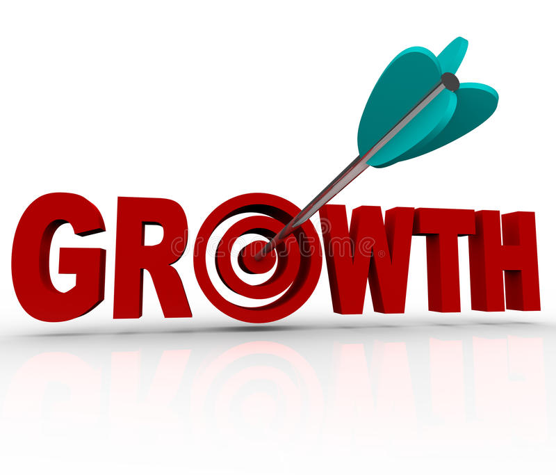Sviluppo - freccia nell'obiettivo di raggiungimento dell'obiettivo di aumento royalty illustrazione gratis