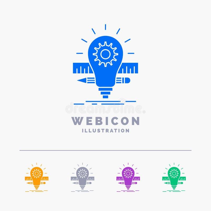 Sviluppo, idea, lampadina, matita, modello dell'icona di web di glifo di colore della scala 5 isolato su bianco Illustrazione di  royalty illustrazione gratis