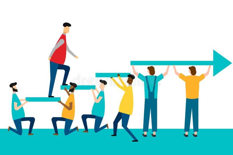 Sviluppo personale, crescita di carriera e personale, progresso e concetti di potenziale Isolato su priorit? bassa bianca Vettore illustrazione vettoriale