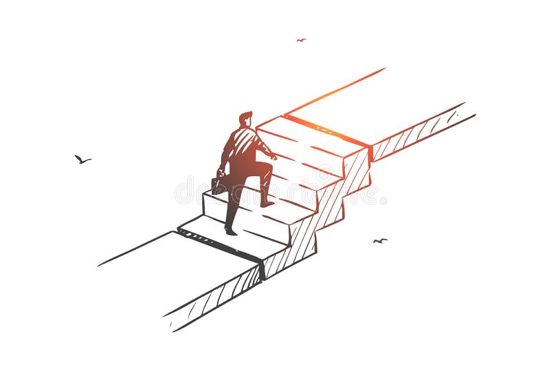 Sviluppo personale, progetto concetto di scala carriera Vettore isolato disegnato a mano illustrazione di stock