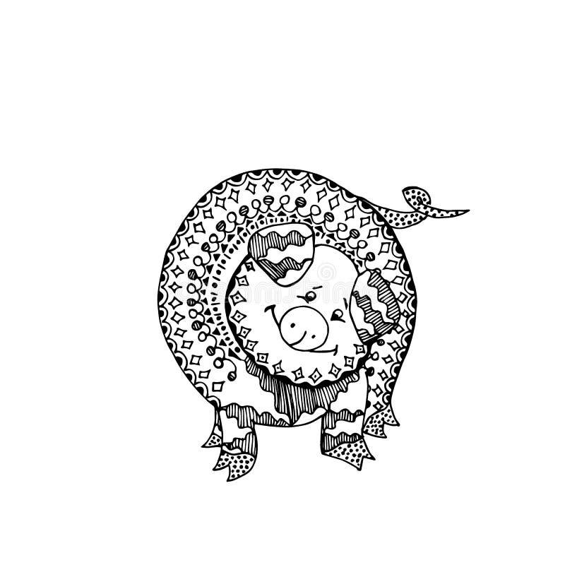 Svin eller galt för färgläggningbok Klotterprydnad Vektorillustration med det dekorativa lösa svinet royaltyfri illustrationer