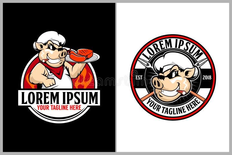 Svin eller griskött med kötträtter för mall för logo för vektor för sexhörning för grillfestrestauranger royaltyfri illustrationer