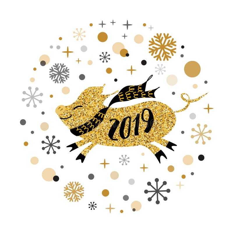 Svin för guld- för svin för lyckligt nytt år för glad jul för vektorbaner 2019 gult kalender för form östlig stock illustrationer