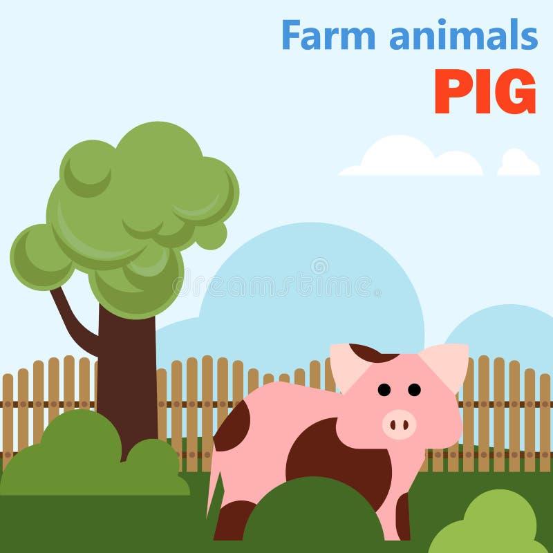 Svin för lantgårddjur royaltyfri illustrationer