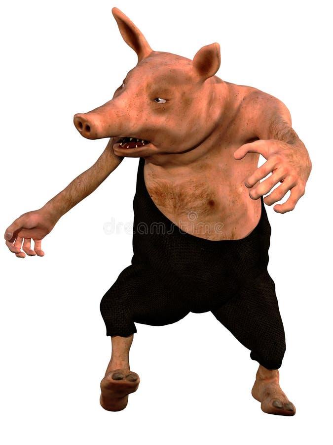 Svin för Redneck 3d arkivbild