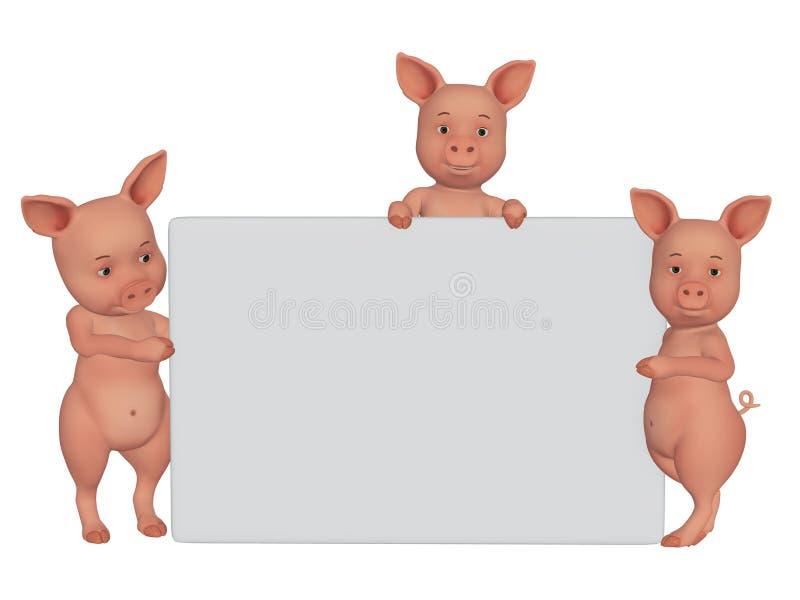 svin för tecknad film 3d med en tom ram royaltyfri illustrationer