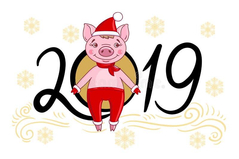 Svin för tecknad filmtecken i en röd hatt och en halsduk royaltyfri illustrationer