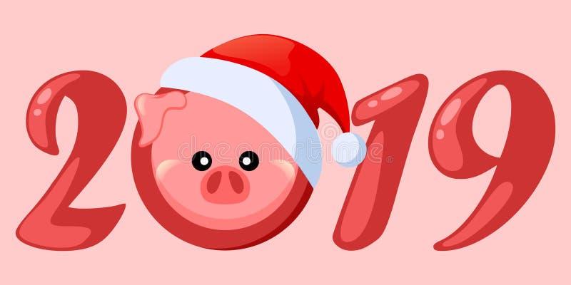 Svin i den Santa Claus hatten piglet Symbol av det kinesiska nya året 2019 Greetting kort med tecknad filmpiggi vektor illustrationer