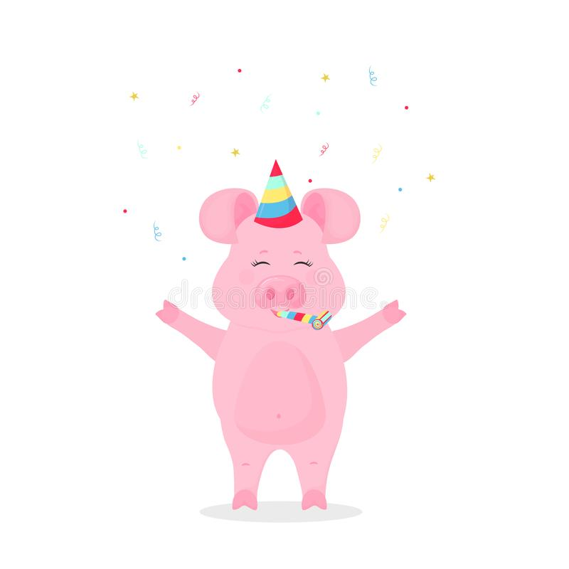 Svin i en randig hatt för parti med en vissling Spädgrisen firar födelsedag konfettiar stock illustrationer
