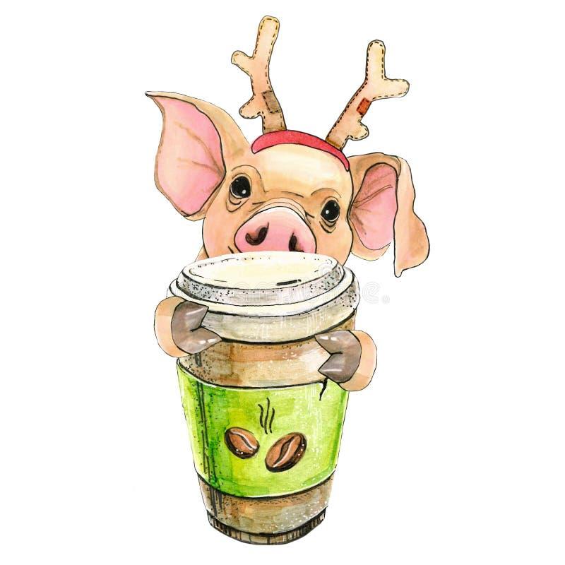 Svin i ett lock med hjorthorn av Santas Claus New Years lock Julsymbol 2019 bakgrund isolerad white stock illustrationer