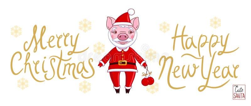 Svin i rollen av Santa Claus i en feriedräkt royaltyfri illustrationer