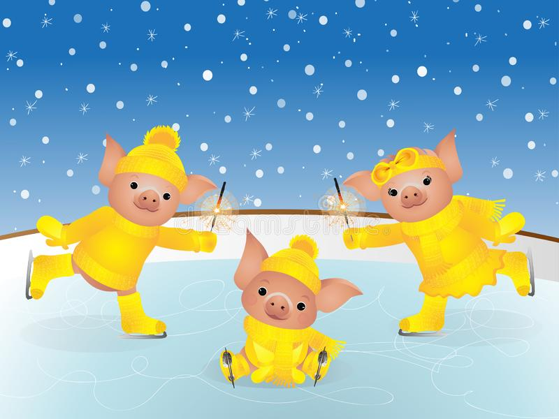 Svin i tröja på skridskor 2019 kinesiska nya år av svinet kortjul som greeting royaltyfri illustrationer