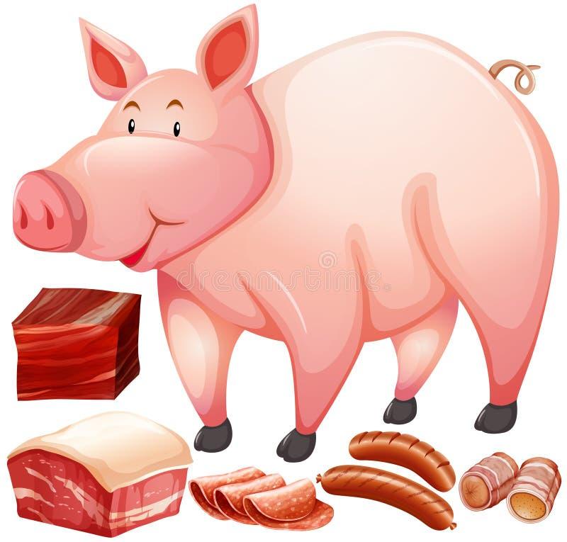 Svin och köttprodukt stock illustrationer